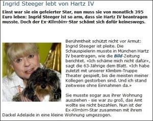 Ingrid Steeger lebt von Hartz IV