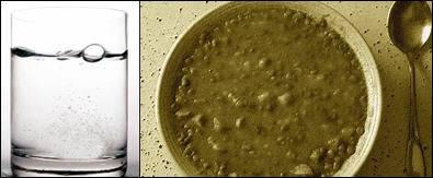 Trübes Leitungswasser und lauwarme Suppe